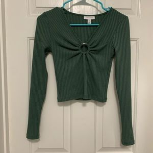 TOPSHOP NWOT Ring Detail Teal Ribbed Crop Top